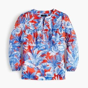 J. Crew Ruffle Top Floral Blouse